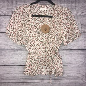 Honey Punch Floral Wrap Blouse Top Small NWT